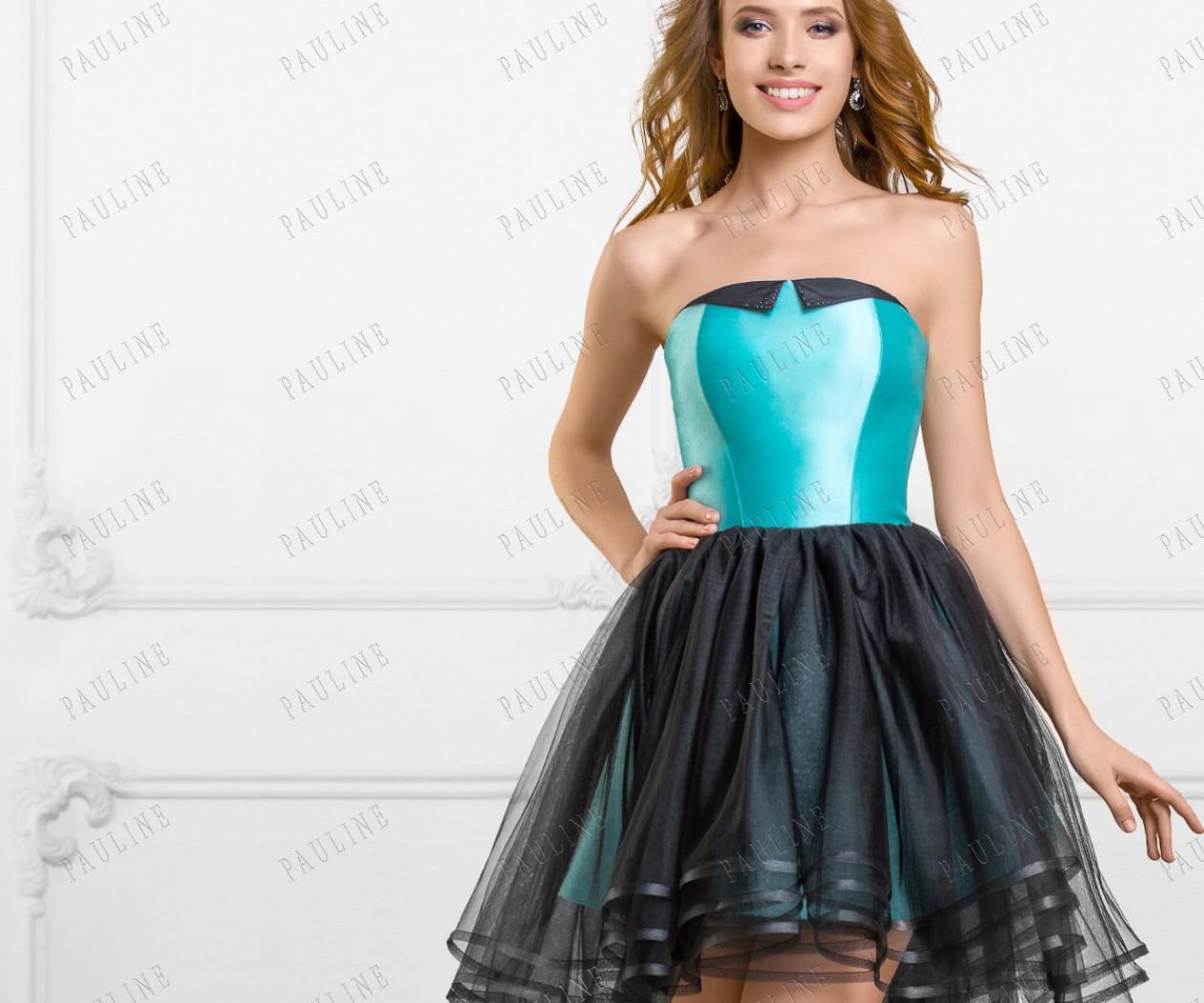 Короткое платье на выпускной с фатиновой юбкой длинной сзади ТРИНИТИ
