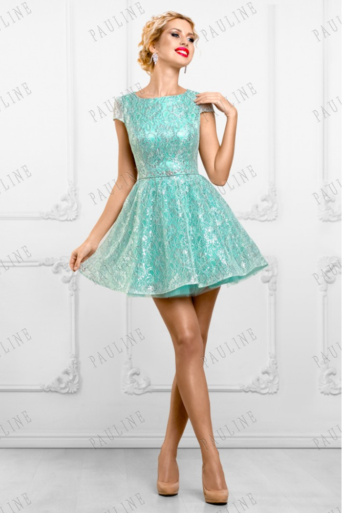 Кружевное короткое вечернее платье с пышной юбкой ЮМИ ИНТЕ