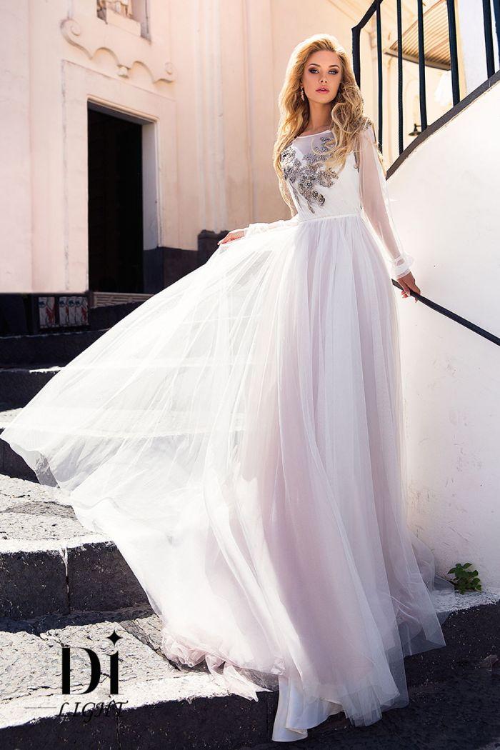 Шифоновое свадебное платье с длинными рукавами САЛЬМА