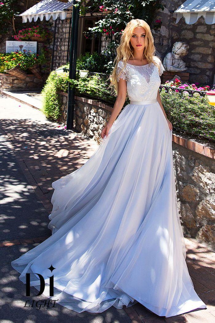 Свадебное платье пепельно-голубого цвета с открытой спиной ШЕЙЛА