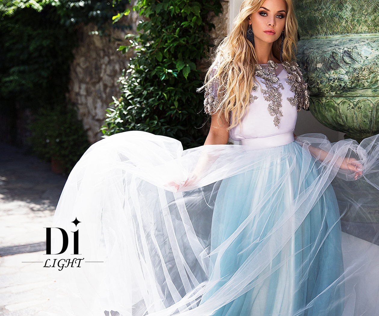 Свадебное платье нежного серо-голубого оттенка ВАНЕССА