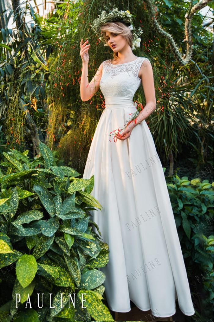 Атласное платье с лаконичной кружевной маечкой АЛЕКСА