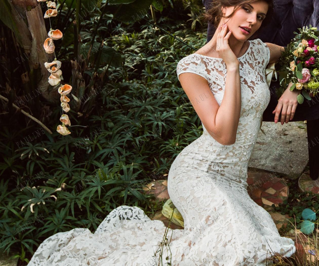 Удивительное свадебное платье из эластичного кружева РЕВЕРИ