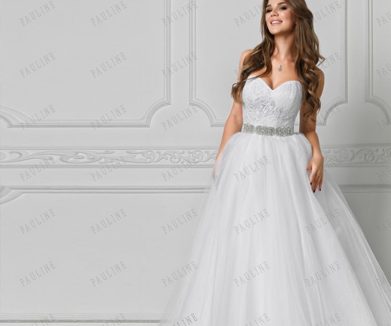 Свадебное платье с кружевным корсетом и пышной юбкой ТИМ РОБЕРТС