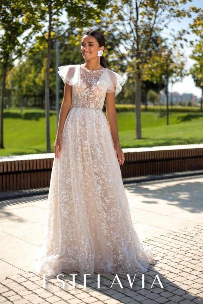 Длинное свадебное платье из ткани с глиттерным напылением БЕВЕРЛИ