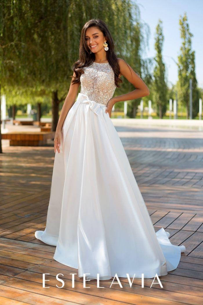 Свадебное платье с кружевным лифом и длинной атласной юбкой МОЛЛИ