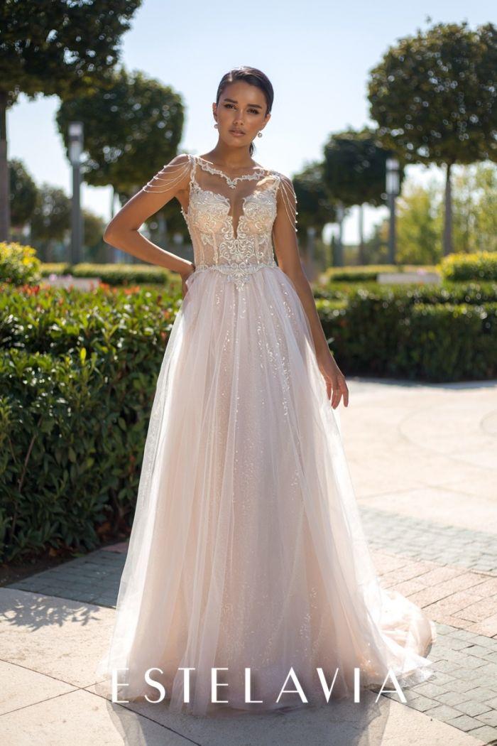 Красивое свадебное платье с оригинальным корсетом и длинной юбкой ШАНТЕЛЬ