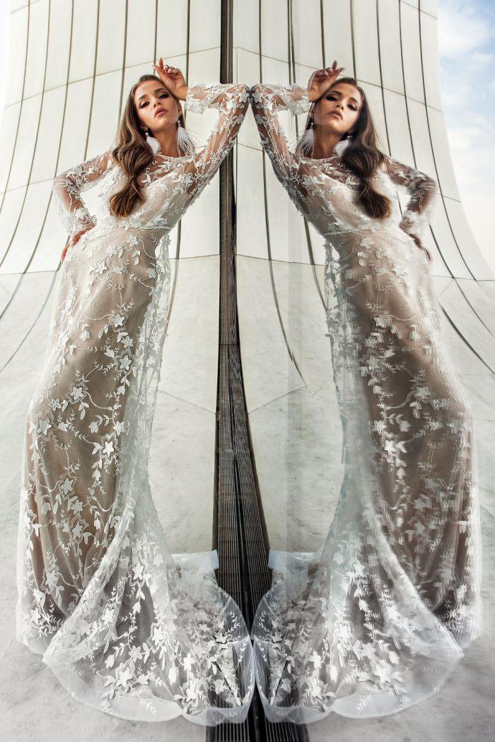 Свадебное платье комбинация с кружевной полупрозрачной накидкой АЛЕССИЯ