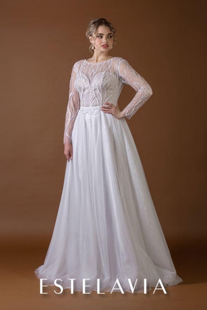 Закрытое свадебное платье с корсетом и длинными рукавами ЭЛЛА