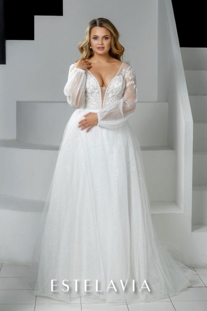 Длинное свадебное платье с глубоким декольте и прозрачными рукавами ХАРЛИН