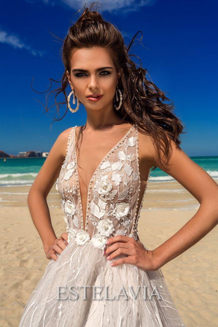 Стильное летнее свадебное платье с открытой спиной КИМ