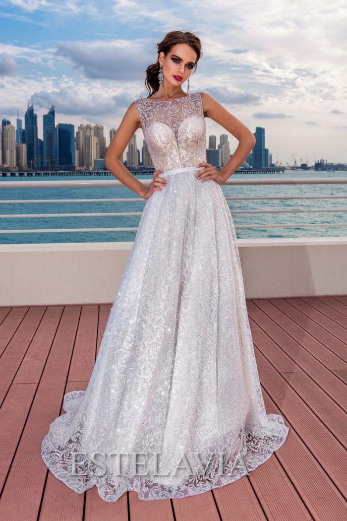 Сверкающее свадебное платье с серебристым кружевом КРИСТЕН