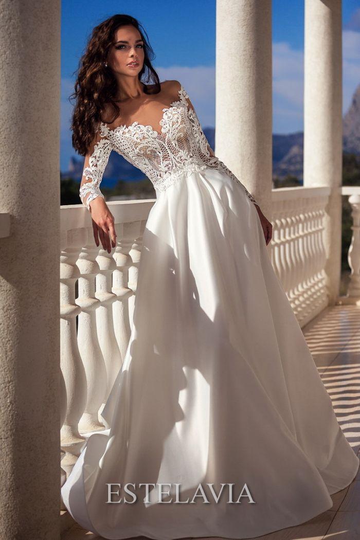 Благородное свадебное платье с непышной юбкой А-силуэта ЛЕДИ