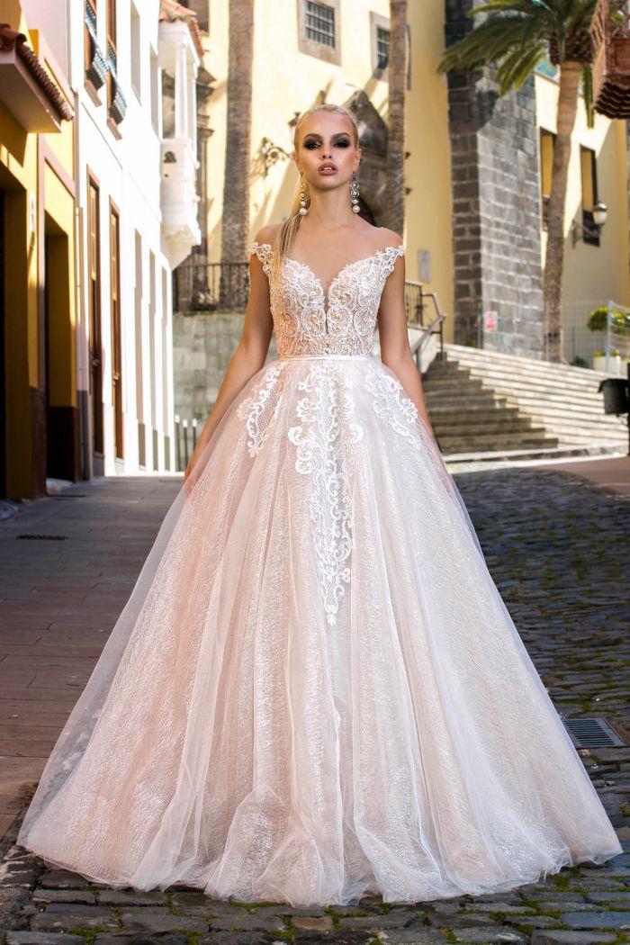 Свадебное платье с открытыми плечами и с сияющей юбкой А-силуэта ЛАЛА