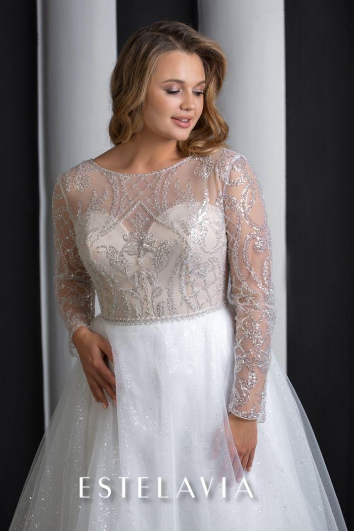 Искрящееся свадебное платье с пышной юбкой и длинным рукавом МАЛЬВИ