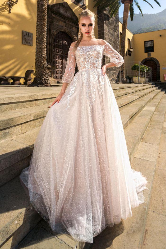Женственное и нежное свадебное платье с прозрачными рукавами МАРГРЕТТЕ