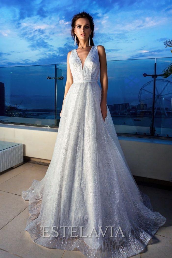 Длинное свадебное платье с эффектом глиттер МЕГ