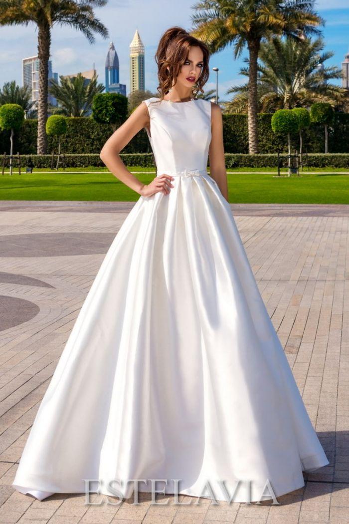 Атласное свадебное платье а-силуэта с открытой спиной САЛЬМА