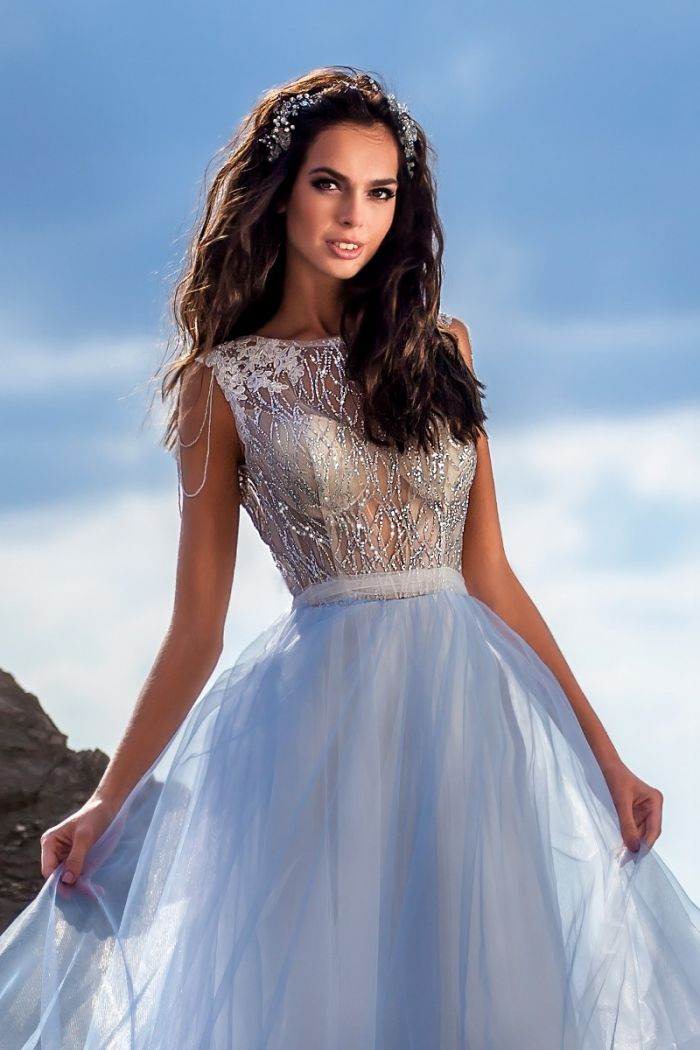 Бледно-голубое свадебное платье СЕЛЕН