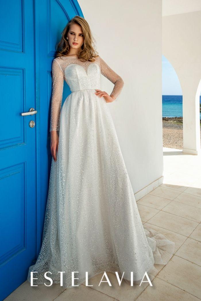 Прямое свадебное платье с длинными рукавами и открытой спиной СТОРМ