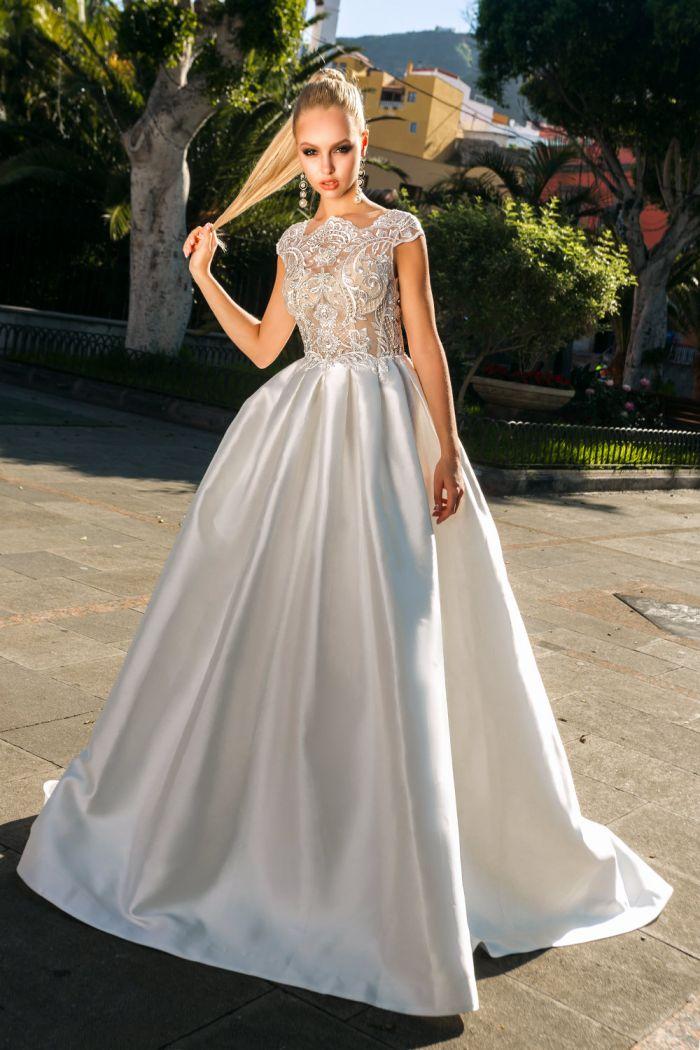 Атласное свадебное платье с кружевным верхом в оттенке слоновой кости ТЕРЕЗА