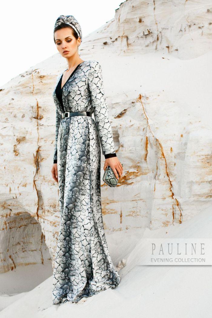 Длинное мраморно-дымчатое вечернее платье с блестками и длинным рукавом ШАНТАЛЬ