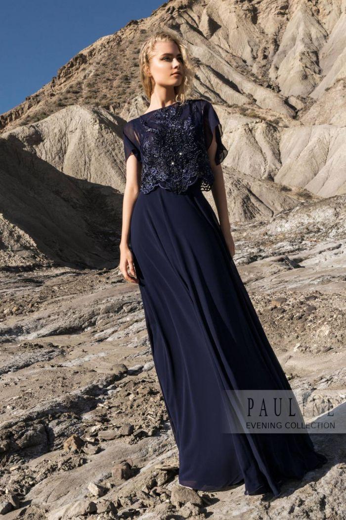 Вечернее платье темно синего цвета элегантного силуэта ДЕЗИРЕ Лайт