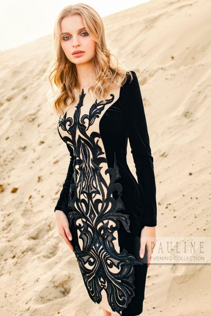 Прекрасно моделирующее фигуру вечернее платье с кружевной вышивкой ЭРДОГАН