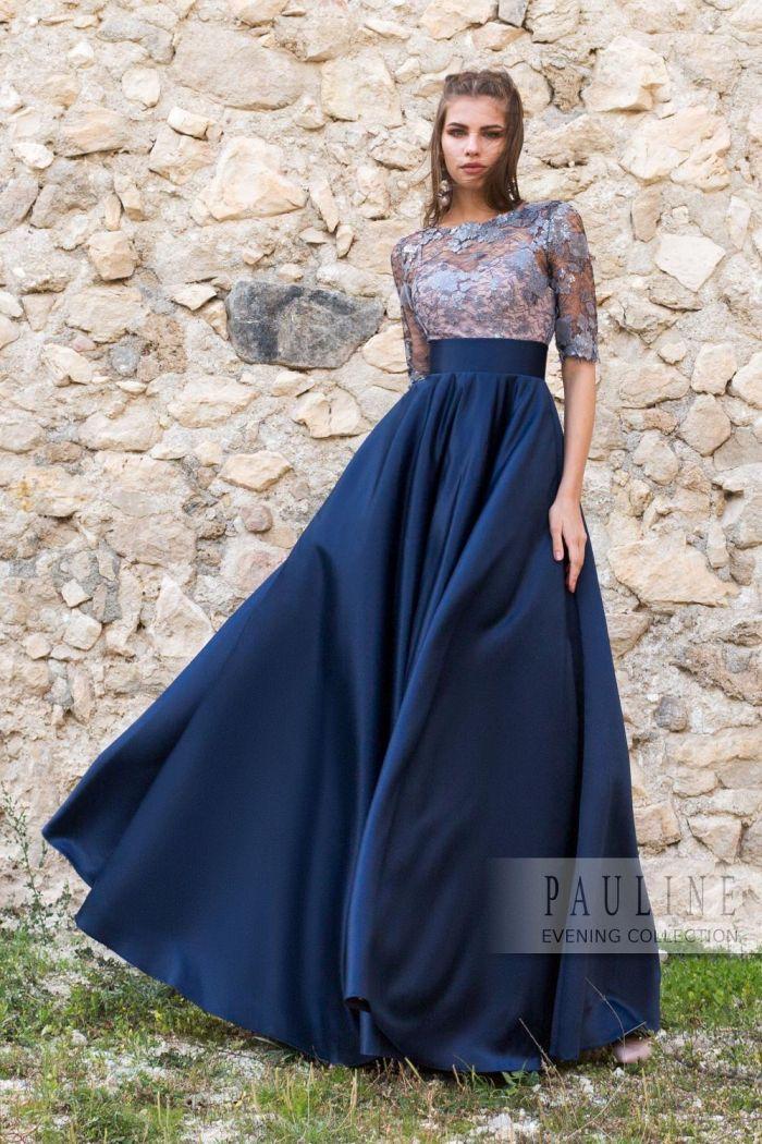 Великолепное платье с синей юбкой и топом из серебристого кружева В ПОЛНОЧЬ
