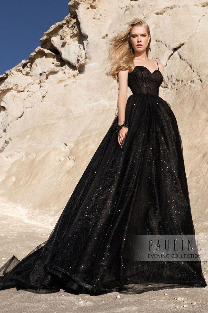 Черное с блеском вечернее платье с пышной длинной юбкой ЧЕРНАЯ КОРОЛЕВА