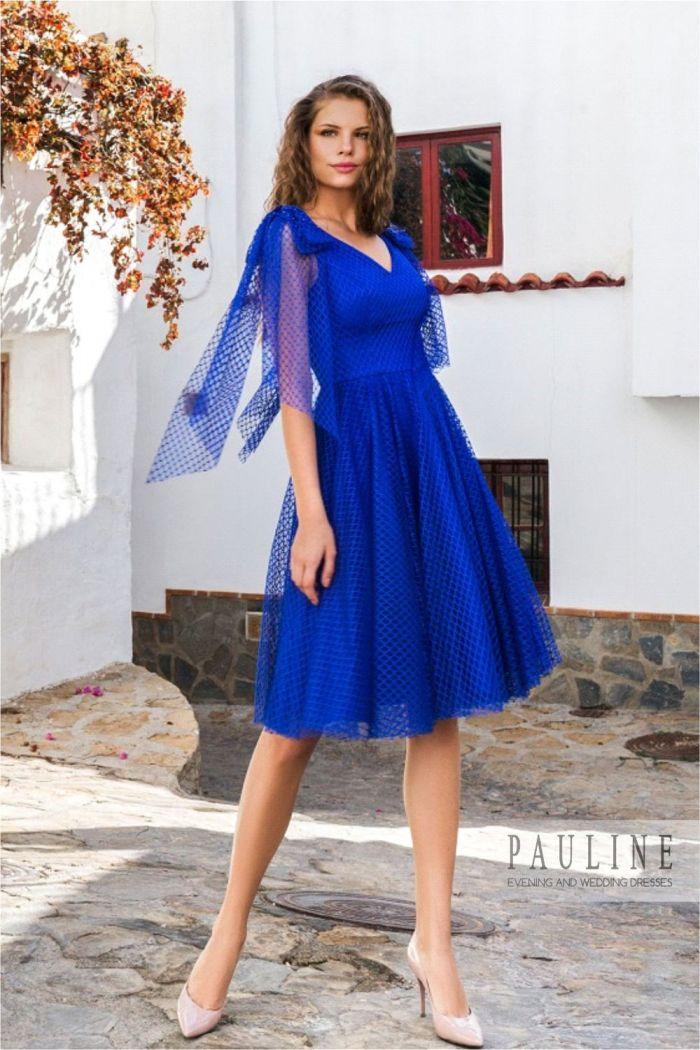 Ярко-синее вечернее платье с короткой пышной юбкой СИНЯЯ ПТИЦА