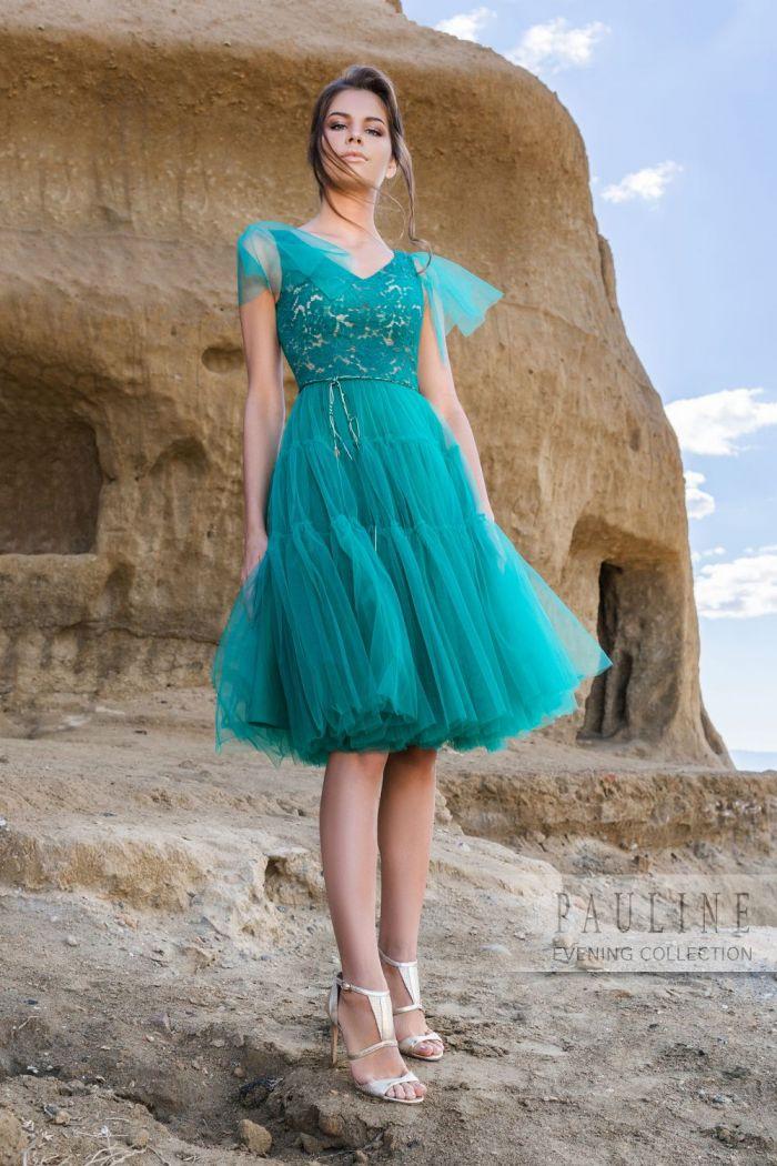 Платье с кружевным лифом и пышной юбкой длины миди ДЕТИ СОЛНЦА
