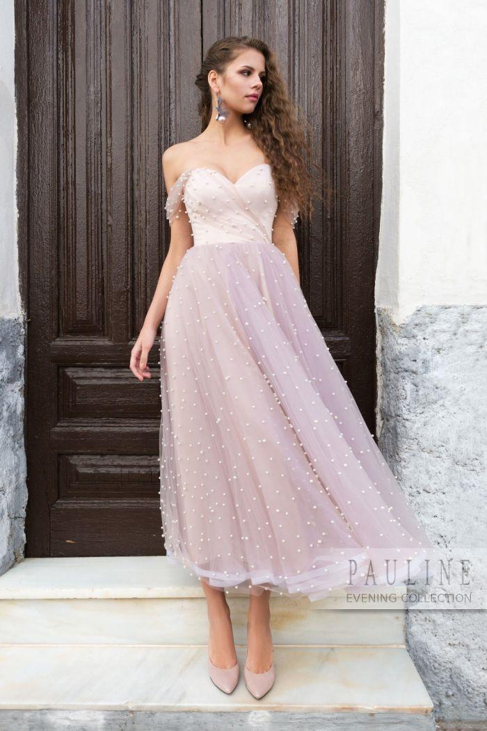 Вечернее платье очень нежного цвета расшитое жемчужинами ВОЗДУШНЫЕ ЗАМКИ