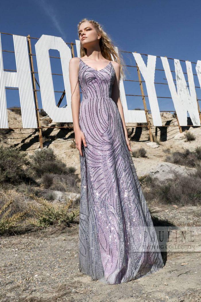 Расшитое бисером вечернее платье сиреневого цвета ДОЛИНА ГРЕЗ