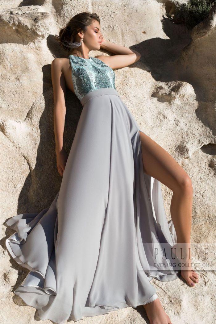 Эффектное вечернее платье с высоким разрезом и открытой спиной УНЕСЕННЫЕ ВЕТРОМ
