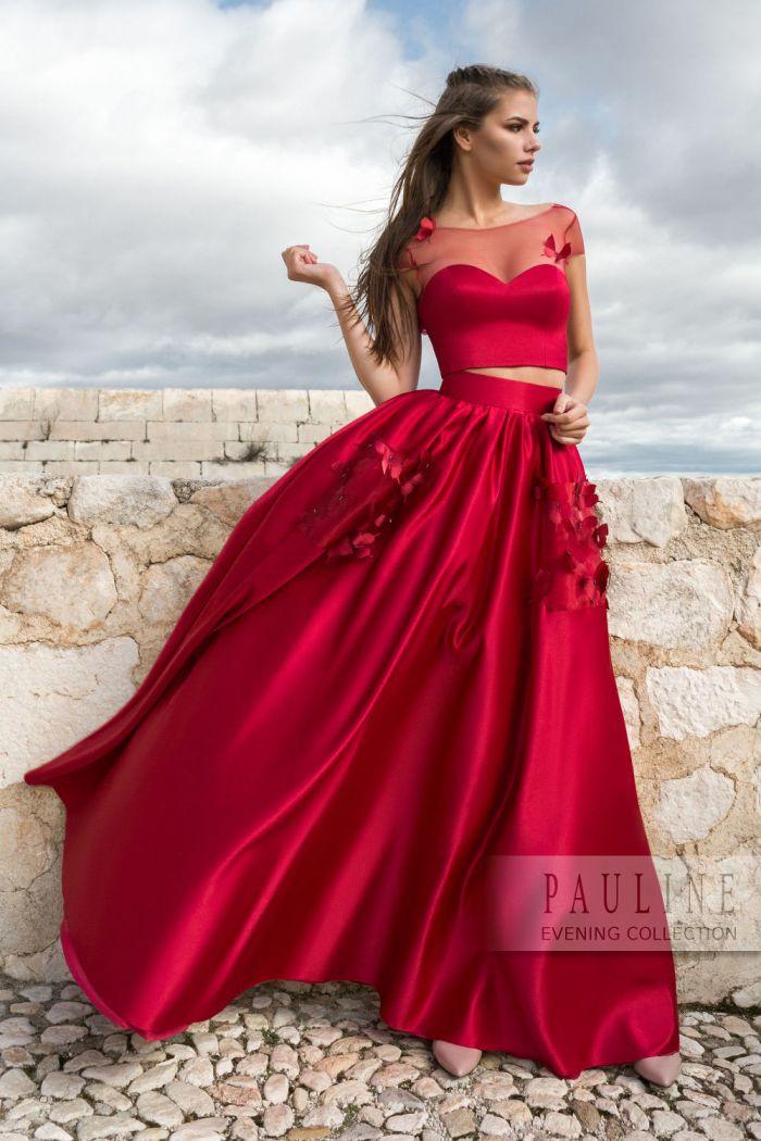 Вечернее платье красного цвета из топа и длинной юбки ШЕПОТ СЕРДЦА