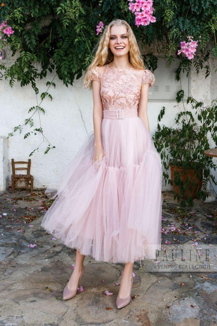 d14ab7bbc10403f Вечернее платье нежного цвета с пышной юбкой длины миди в Хабаровске