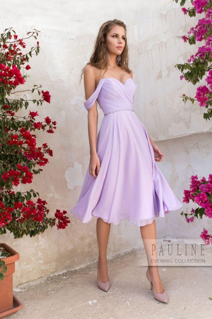 Легкое платье длины миди с открытыми плечами ЛЕТО В ПРОВАНСЕ