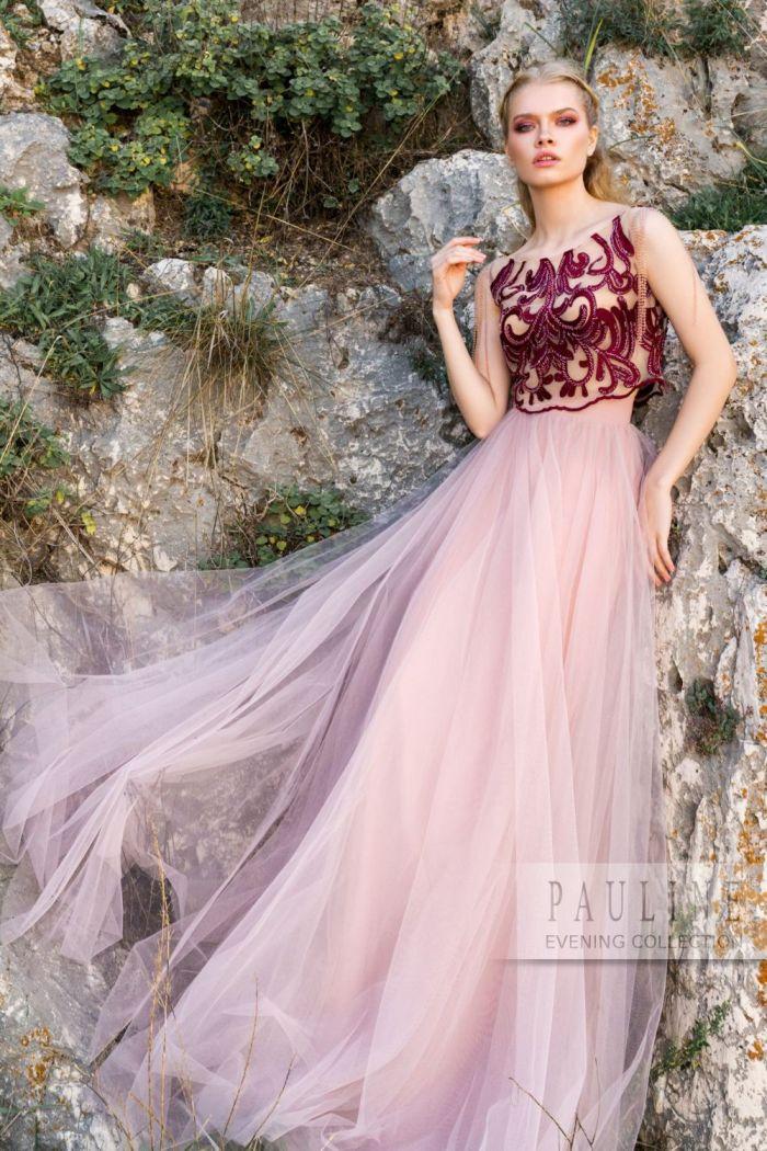 Длинное вечернее платье из кроп-топа и фатиновой юбки ТАНГО ВДВОЕМ