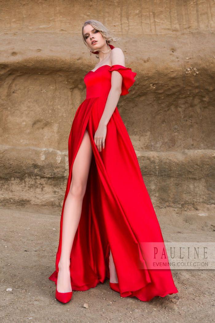 Страстное вечернее платье алого цвета ПОЮЩИЕ В ТЕРНОВНИКЕ