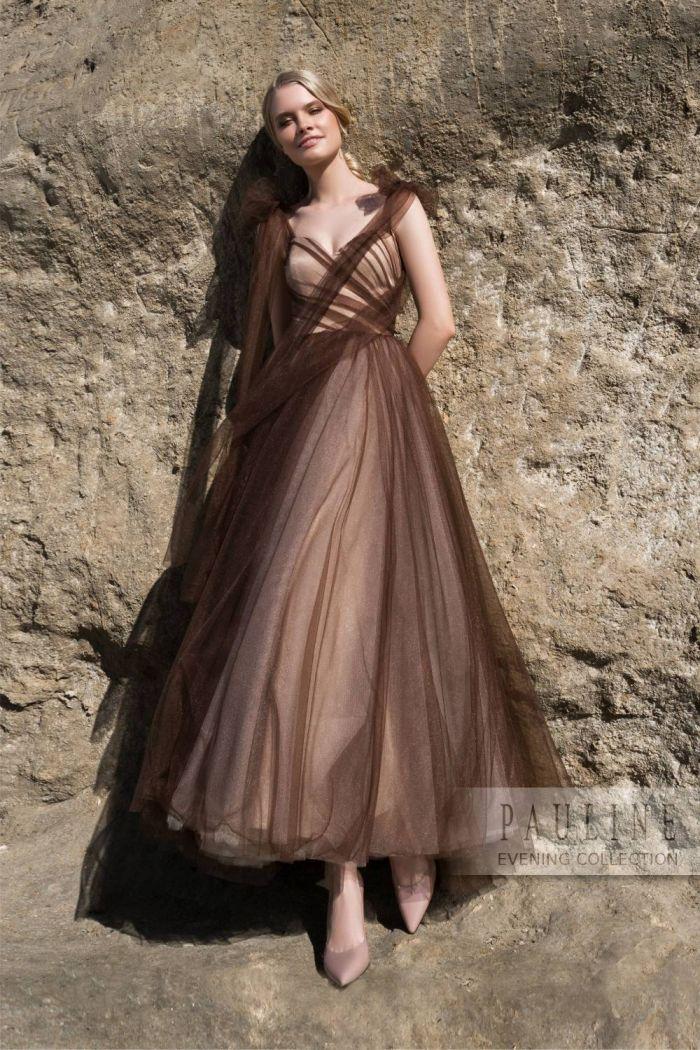 Оригинальное вечернее платье со сложной драпировкой ВАНИЛЬНЫЕ НЕБЕСА