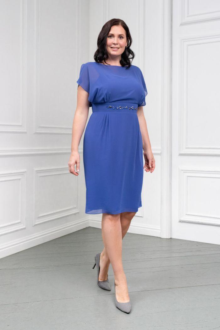 Коктейльное платье из почти прозрачного жоржета классической длины АНТЕЯ