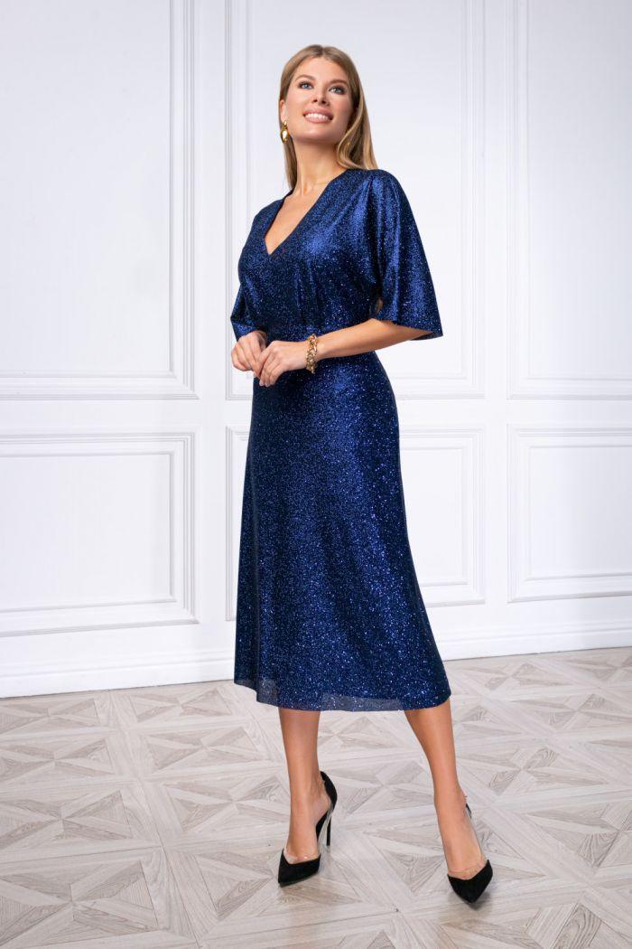 Шикарное коктейльное платье из глиттерного трикотажа БЕЙЛЕ