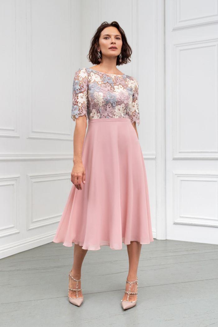 Нежное платье с кружевным лифом и невесомой юбкой ниже колена БРИДЖИТ