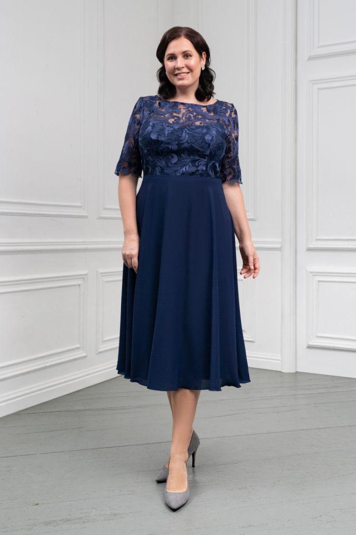 Женственное платье синего цвета с кружевным лифом и шифоновой юбкой ДАРЛЕ