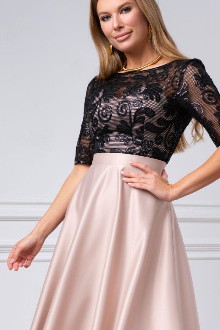 Коктейльное платье с кружевным лифом и атласной юбкой длины миди ДЕБОРА
