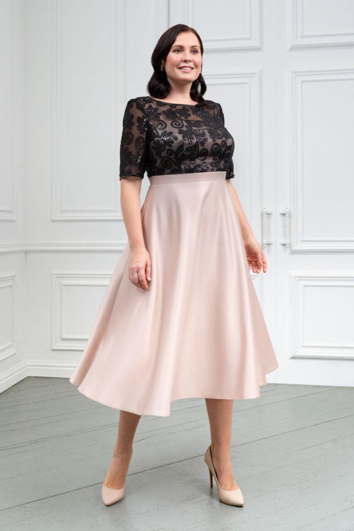 Контрастное платье из кружева и атласа с коротким рукавом и юбкой миди ДЕБОРА