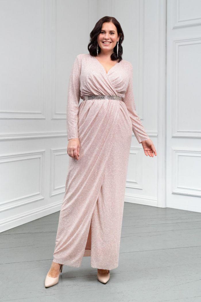 Сияющее длинное вечернее платье из глиттерной ткани ГЕРА
