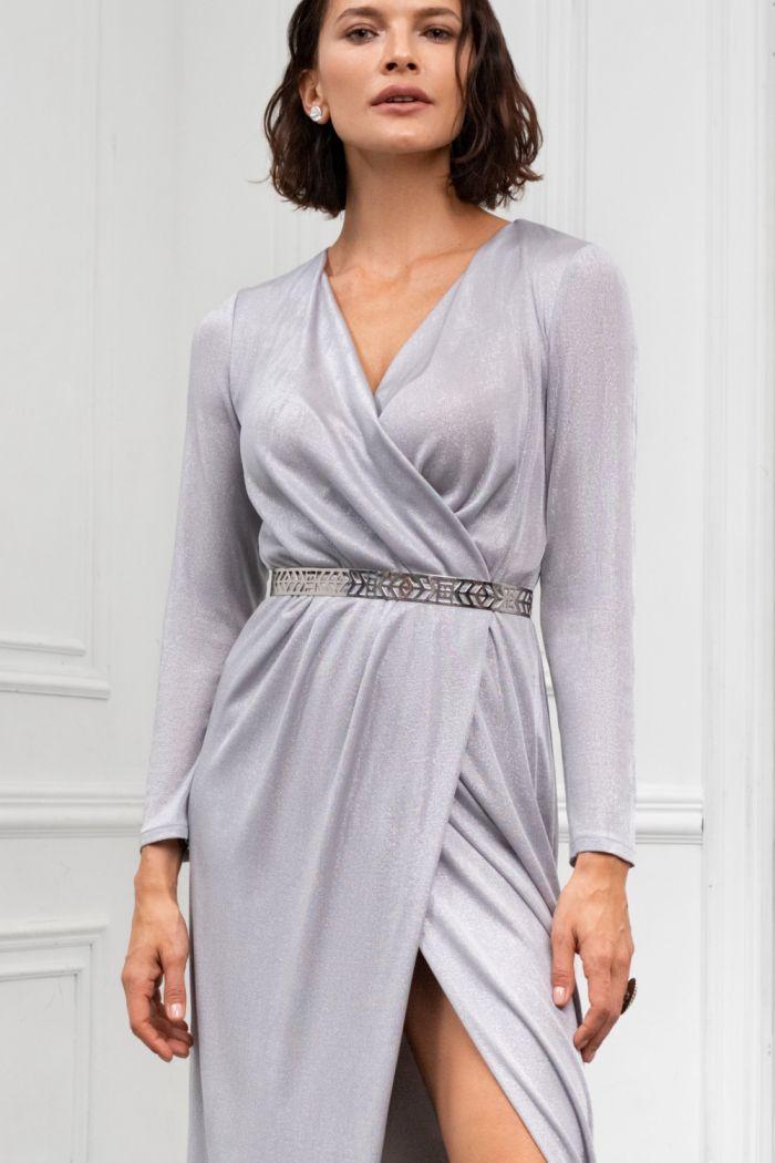 Вечернее длинное платье из мягкого серебряного трикотажа с рукавом ГЕСТИЯ