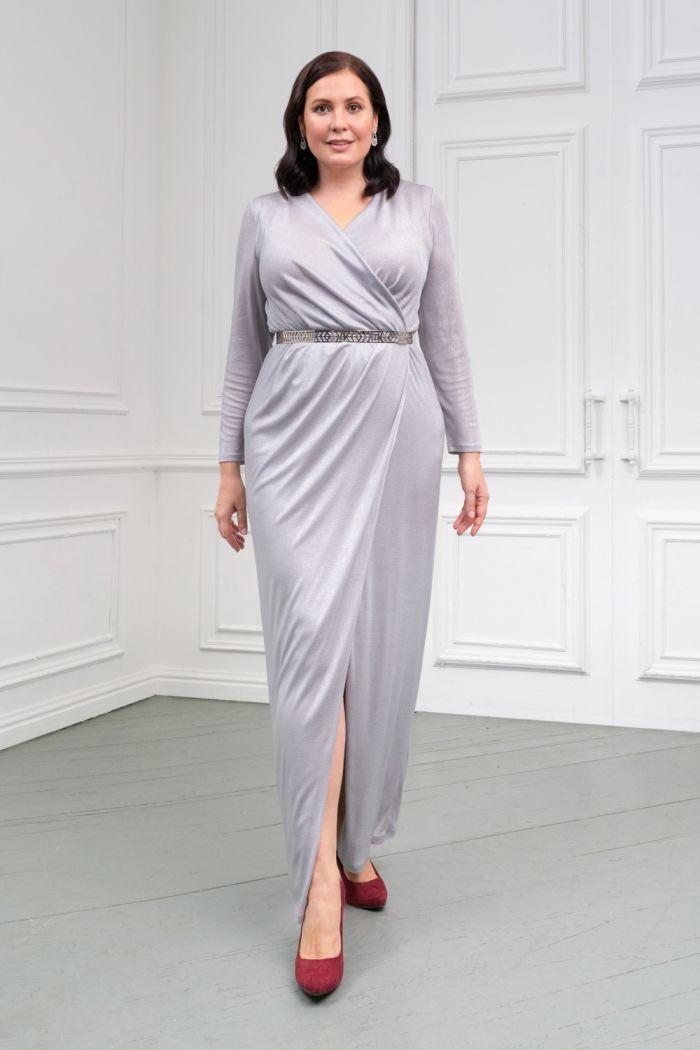 Трикотажное длинное платье серебряного цвета с рукавом ГЕСТИЯ